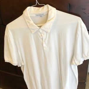 James Perse white polo shirt
